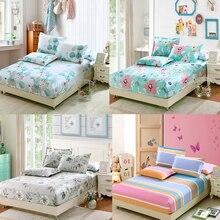 Чистый хлопок, милый цветочный Комплект для близнецов/полных/королевских размеров, простыня, комплект простыней, Shams, детская кровать с цветком, в разноцветную полоску