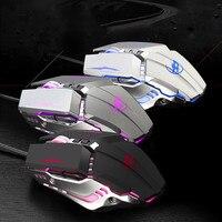 Rato de jogos usb com fio design ergonômico programável 6 teclas 3200 dpi ratos com led #30