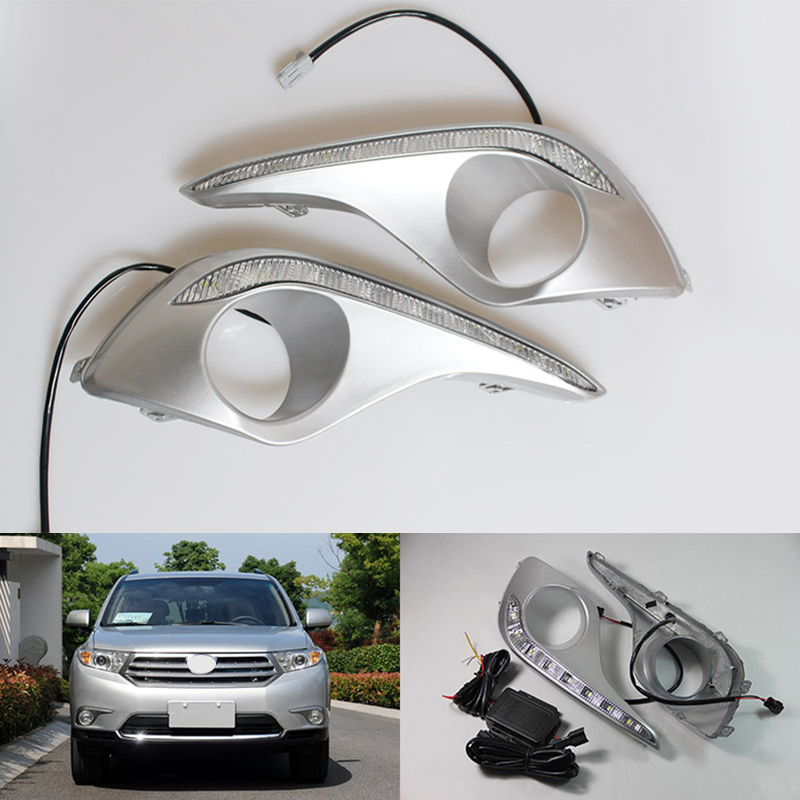 Car styling daylight LED DRL Daytime Running Lights for Toyota Highlander 2012 2013 2014 2015 with fog lamp car styling front lamp for t oyota for tuner 2012 2013 daytime running lights drl