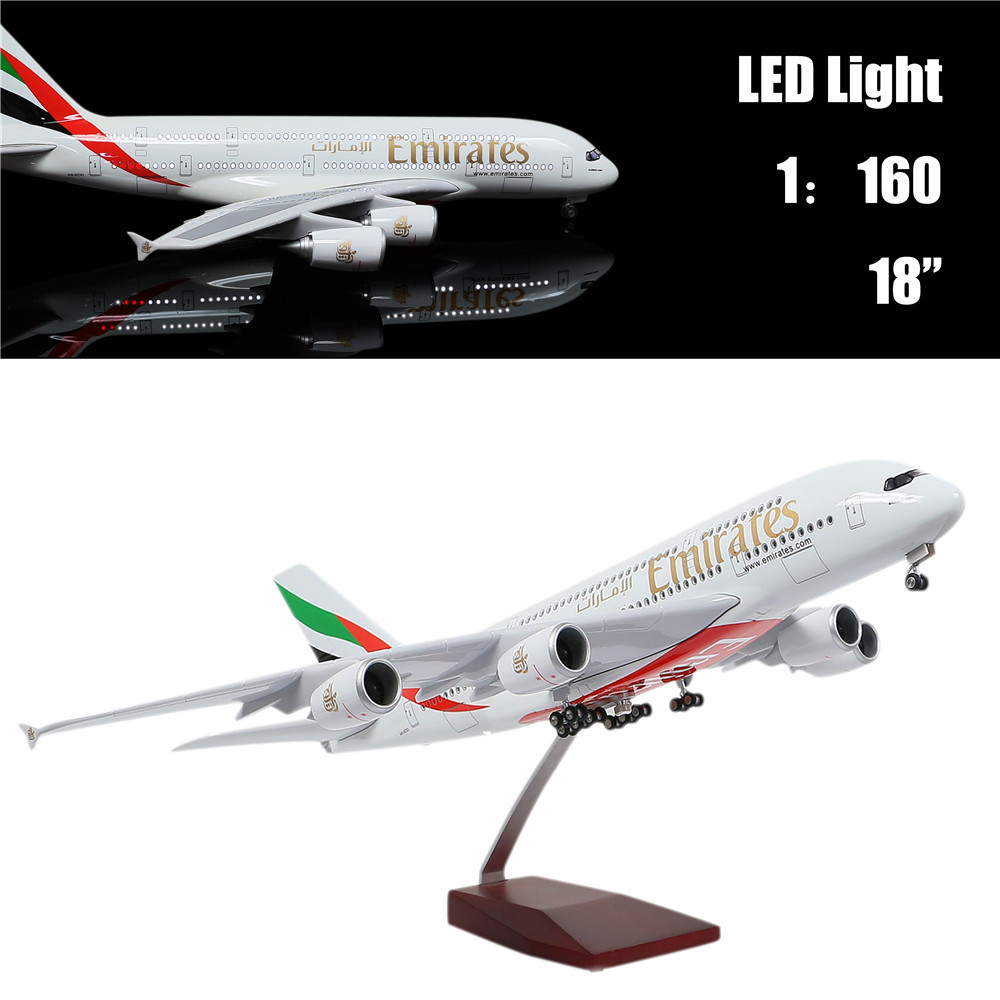 46 CM 1:160 Airplane Model Emirates A380 with LED Light(Touch or Sound Control) Plane for Decoration or Gift