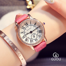 GUOU Brand Watch Women Classic Vintage Watches Roman scale Casual Quartz Ladies Leather Wristwatch Relogio Feminino