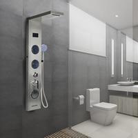 LED Digital Display Shower Panel Column With ABS Handshower Rain Waterfall Shower Bath Shower Screen Bathroom Suppliers HWC Shower Faucets     -
