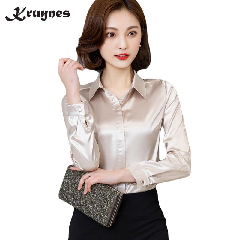 Women silk satin   blouse   button long sleeve White Gold Red Black lapel ladies office work elegant female silk   blouses     shirts