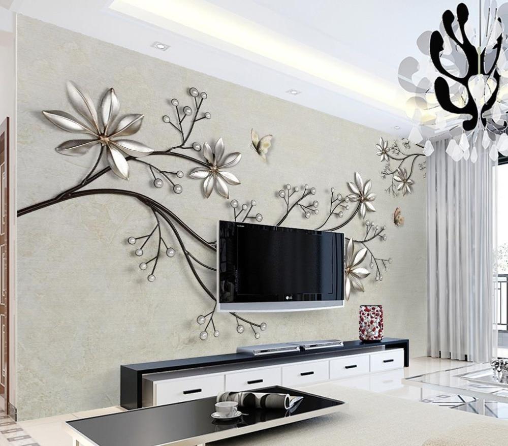Modern Brief Desktop Wallpaper Stereoscopic Jewelry Flowers
