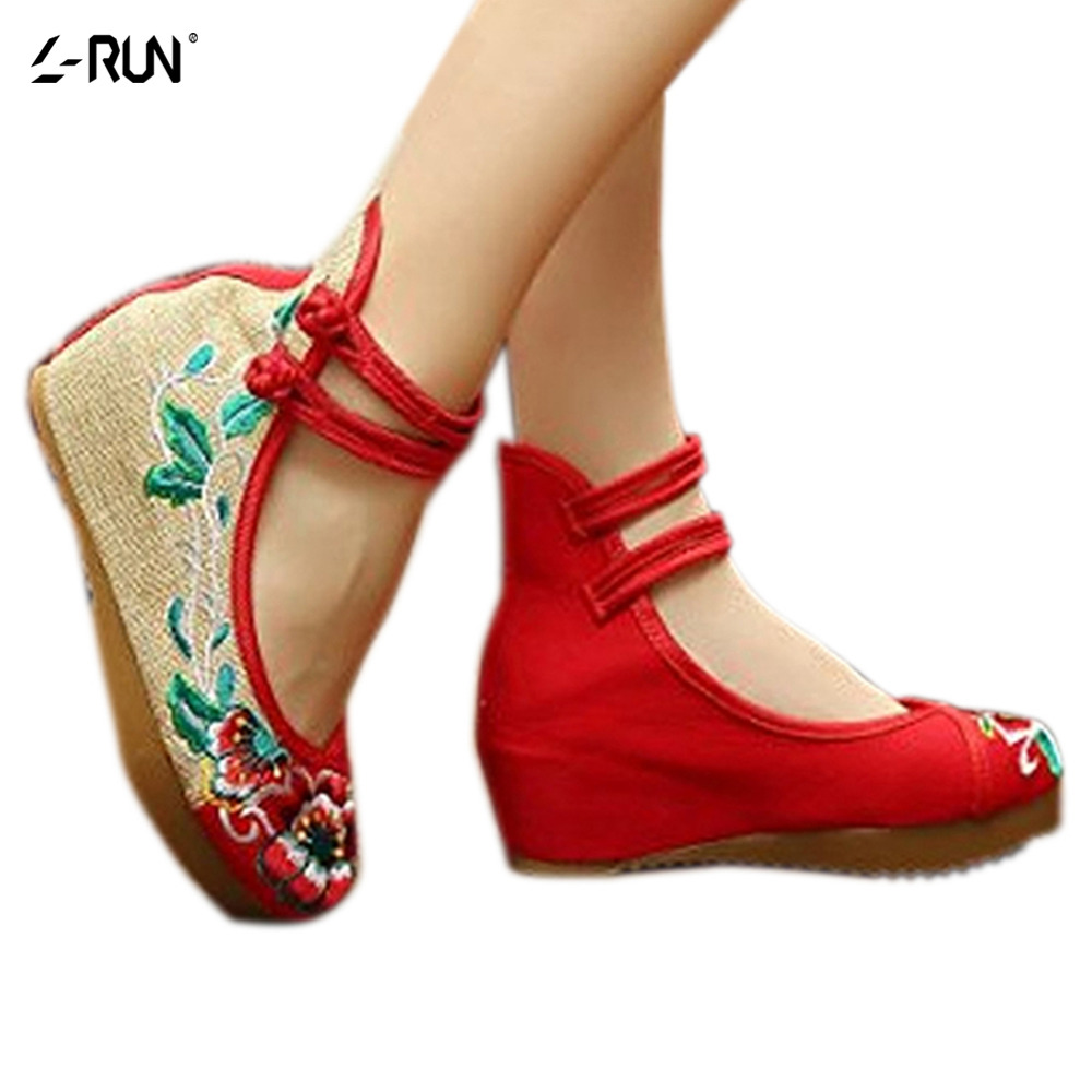 Plus Size Fashion Women Shoes Old Beijing Mary Jane Shoes Flat Canvas Embroidered Soft Casual