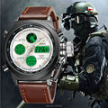Original branded men's fashion Dual movement leather led sports army wristwatches women promotion waterproof digital reloj