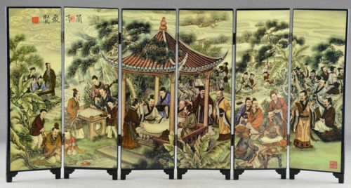 (Mini) Superb Asian lak Ware Lanting Juxian Painting Folding Screen