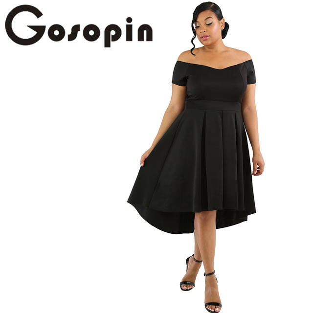 Gosopin Black Off Shoulder Summer Dress Plus Size Swing Dress ...