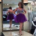 Nuevo Diseñador Purple Tulle Crystal Beads Robe De Cocktail 2017 Custom vestido de Bola Corto Mini Vestidos de Coctel Más Tamaño Para mujeres