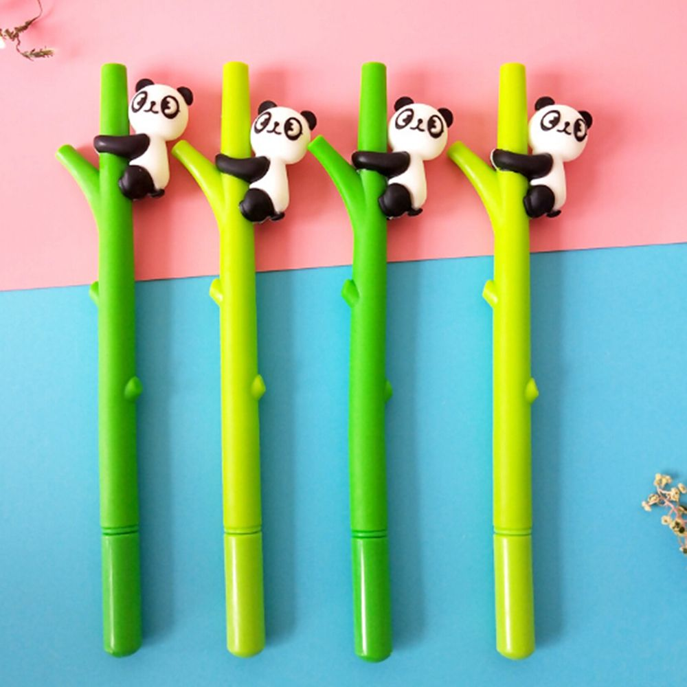 1pcs 0.5mm Cartoon Panda Bamboo Neutral Pen Promotional  Stationery Gift Office School Gel Pen Supplies Free Shipping