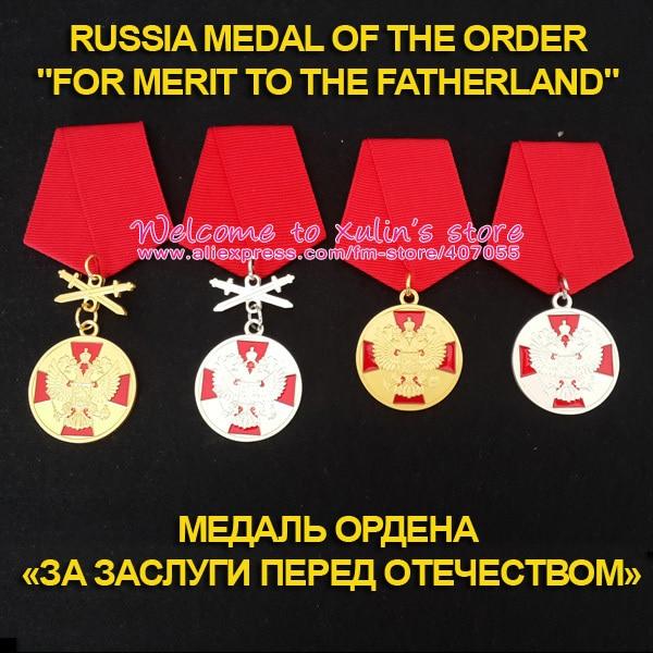XDT0012 Medalha da Ordem De Mérito para a Pátria com fita Um Conjunto 4 Pcs Medalhas Prêmios e decorações do russa