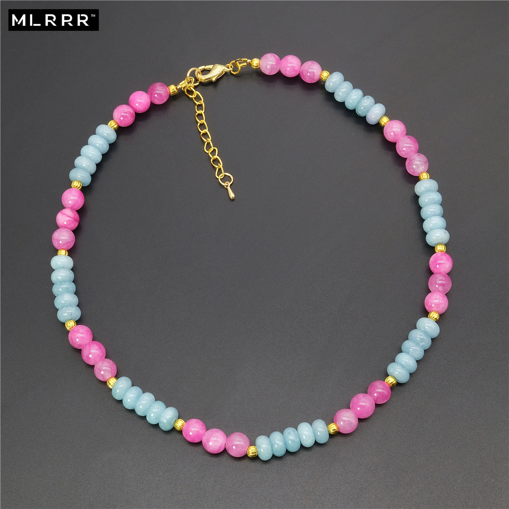 Vintage Classic Lab-created Natural Stone Jewelry Noble 5*8mm Aquamarines and 8mm Round Pink Rubies Beaded Chain Necklace 44cm