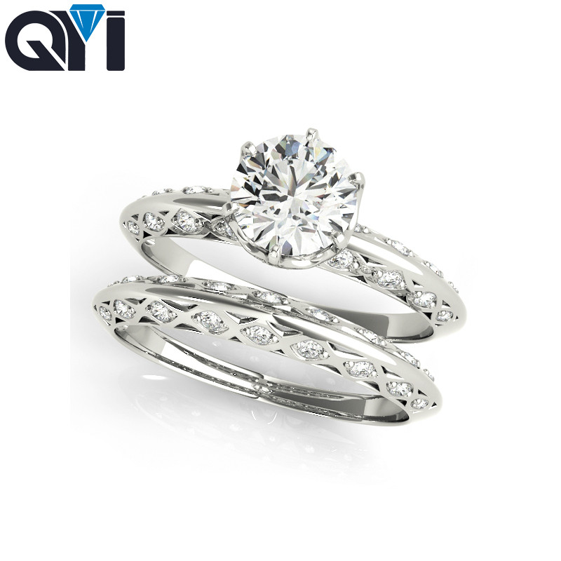 QYI Silver Rings 1 Ct Round Cut Engagement Bridal 925 Sterling Silver Ring set Wedding Anniversary Bridal jewelryQYI Silver Rings 1 Ct Round Cut Engagement Bridal 925 Sterling Silver Ring set Wedding Anniversary Bridal jewelry