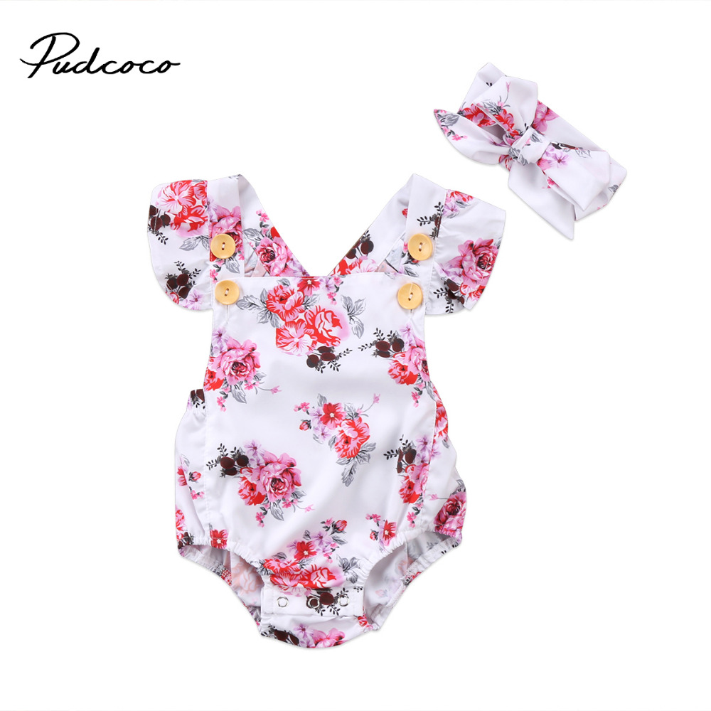 Pudcoco Cute Infant Baby Girl Clothing Floral Romper Ruffle Sleeveless Button Jumpsuit Summer Backless One-Piece Toddle Clothes