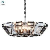RH American Loft Luxurious Square Crystal Led E14 Chandelier Hotel Luminaire Led Pendant Chandelier Suspension Lamp Lamparas