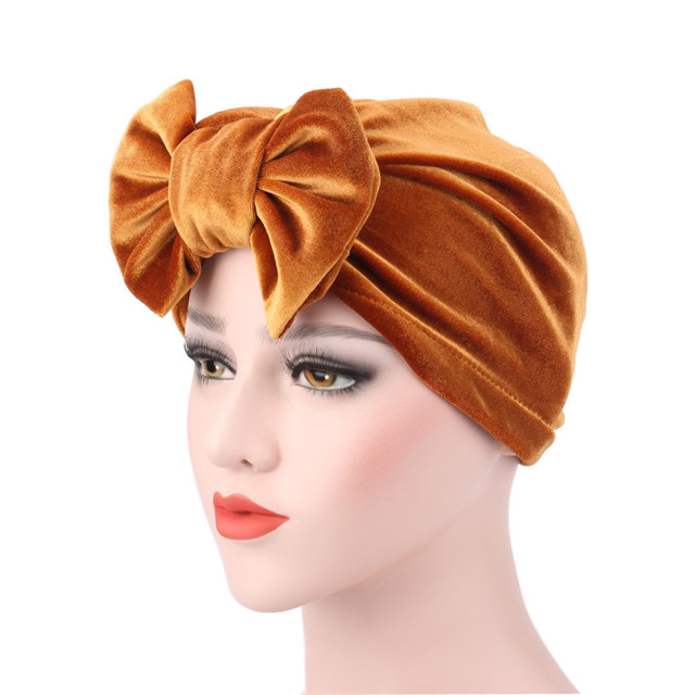 5e5dfa4ea3e 2018 Butterfly Knot Muslim New women luxury bowTurban Hat Stylish Chemo cap  with the detachable bowknot
