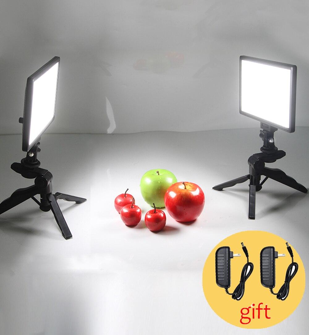 Table Photo Studio Ensemble 2x Viltrox L116T Bi-Couleur Dimmable LED Vidéo Lumière + 2x Mini Trépied + 2x2 M AC Adaptateur pour DSLR Photo