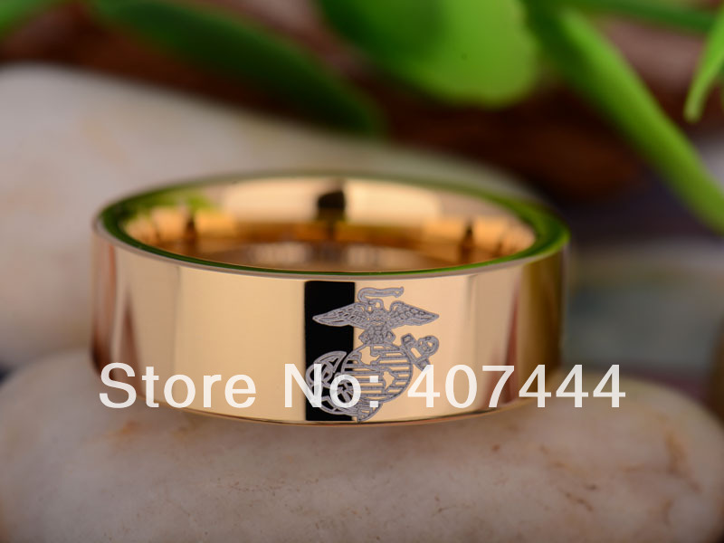 free shipping ygk jewelry hot sales 8mm gold color pipe army military marines mens tungsten carbide - Military Wedding Rings