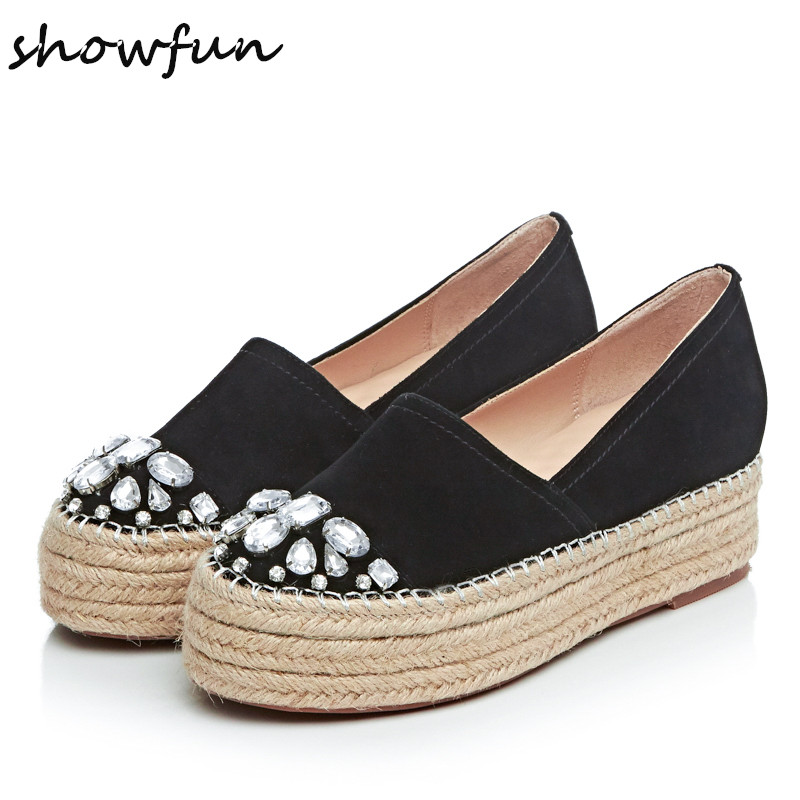 Women's Platform Flats Loafers Slip-on Genuine Leather Leisure Moccasins Espadrilles Brand Designer Rhinestone Shoes for Women women s genuine leather carving slip on loafers brand design platform flats leisure espadrilles brogues shoes moccasins zapatos