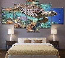 5 Piece HD Print Large Ocean Turtle Sunrays Cuadros Decoracion Paintings on Canvas Wall Art for Home Decorations Wall Decor недорго, оригинальная цена