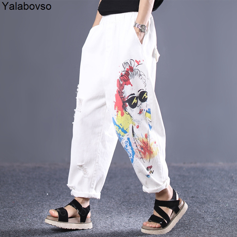 Punk Rave Streetwear Hole Cool   Jeans   Fashion Printing Elastic waist pants for woman Female Loose trousers summer A0B2Z40