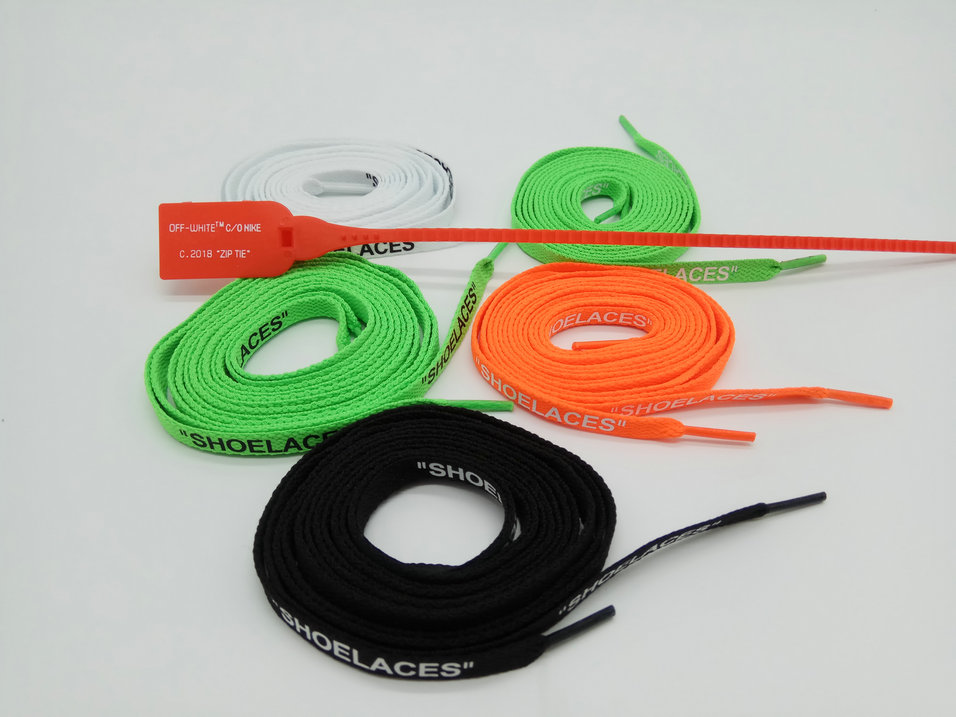 Shoelaces-Orange Zip-Tie-Off White Green with Black Print Vierodis