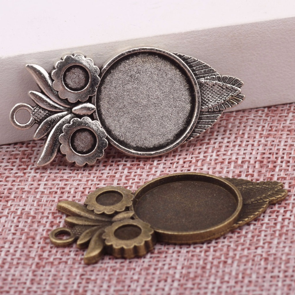 Onwear 20 pcs coruja cabochão configurações pingente bandejas em branco cameo base de 20mm de diâmetro diy molduras jóias antique bronze + prata