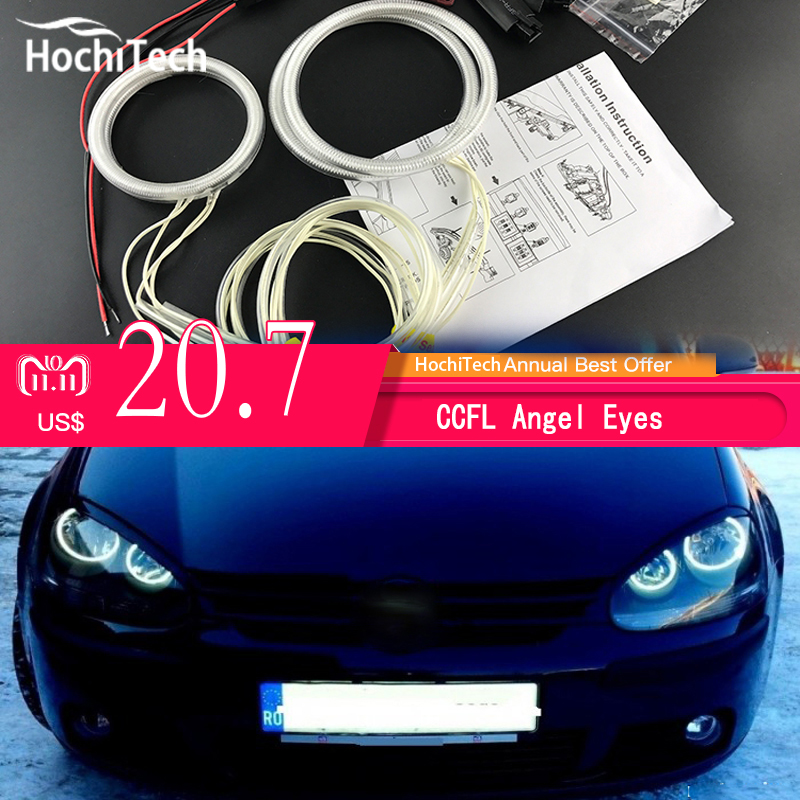HochiTech ccfl angel eyes kit white 6000k ccfl halo rings headlight for VW Volkswagen golf 5 MK5 2003-2009 hochitech excellent rgb multi color halo rings kit car styling for volkswagen vw golf 5 mk5 03 09 angel eyes wifi remote control
