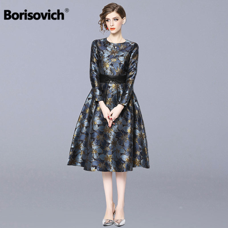 Borisovich Ladies Elegant Party Dress New Brand 2019 Spring Fashion Vintage Print A line Women Casual