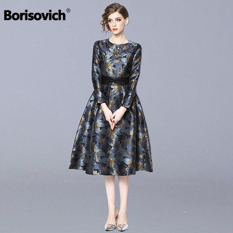 Borisovich dames robe de soirée élégante nouvelle marque 2019 printemps mode Vintage imprimé a-ligne femmes décontracté longues robes N398