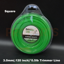 3.0mm 0.120″ X 0.5LB Square Shape Green Color Brush Cutter Grass Trimmer Nylon Line Wire