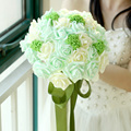 Pack with Box Mint Green Artificial flowers Wedding Bouquets 2017 Romantic Bridal bouquets buque casamento Wedding Accessies P21