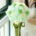 Paquete con la caja verde menta flores artificiales de la boda ramos de 2016 románticas de novia ramos buque casamento Accessies P21