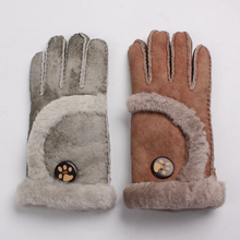 high-quality Womens gloves winter  warm fashion sheepskin thickening breathable & mitten genuine leather