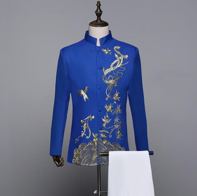 חליפות חתונה לגברים בני ליזר צווארון דוכן נשף mariage חליפת טוניקה הסינית גברים masculino הדק עיצובים צפצף המעיל האחרונים כחול