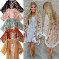 2016 Hot UK Women Boho Chiffon Cardigan Hippie Kimono Blouse Cape Shawl Jacket Ladies Top