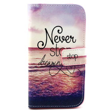 For Wiko Lenny Case - Premium PU Leather Stand Feature Wallet Flip Cover for Never Stop Dreaming