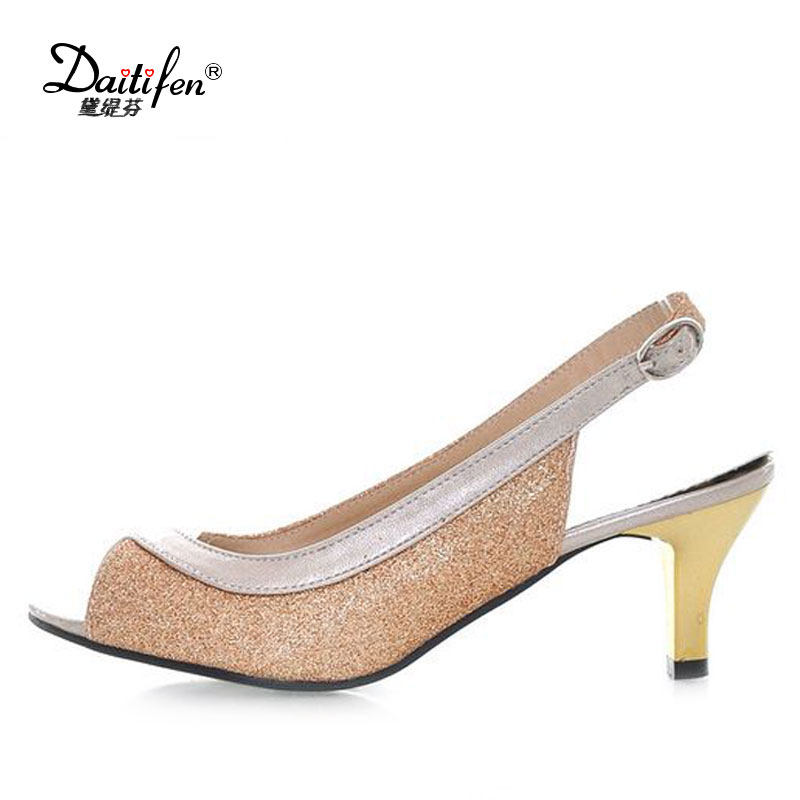 Fanyuan 2018 New Women Buckle Strap Peep Toe spike Heels Sandals Gladiator Summer shoes Sexy Stiletto Party Shoes Big Size 30-46 shoesofdream women s 2015 summer peep pointed toe red anke strap patent leahter sexy spike high heels