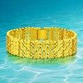 Pulseira de ouro Para Homens/Mulheres Moda Jóias de Ouro/24 K Real Banhado A Ouro Pulseiras Bangles Ângulo Direito 19 cm
