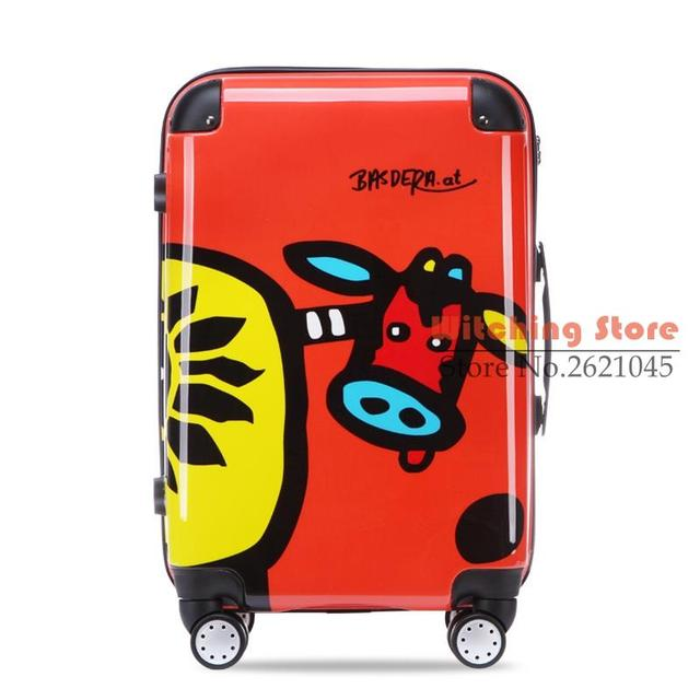 22 INCH  22# cow cute cartoon printing travel pull rod box 22 #EC FREE SHIPPING