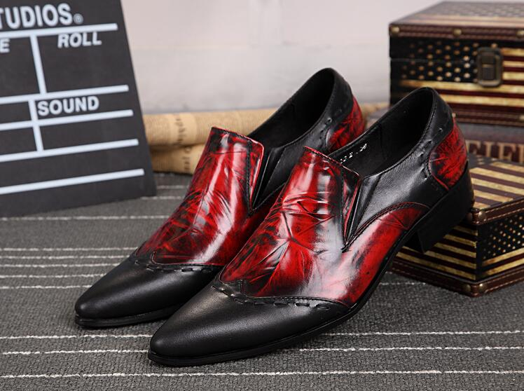 bdc2f26131f8ca New Imitate Genuine Leather Men Oxford Shoes Slip-on Pointed toes Hit  Colour Printed Low