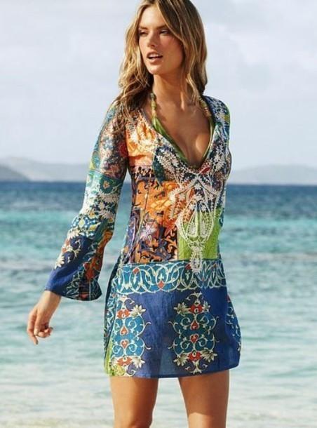 Summer Beach Wear Women Cover-Ups Bohomia Dress Print V neck Chiffon Dress Loose Long Sleeve Swimming Vestidos femininas M6513 6