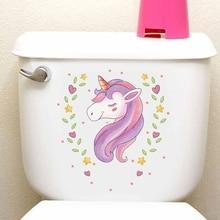 2pcs Cute The Unicorn Home Decor Sticker PVC Toilet Stickers Kitchen Bathroom Accessories Wall