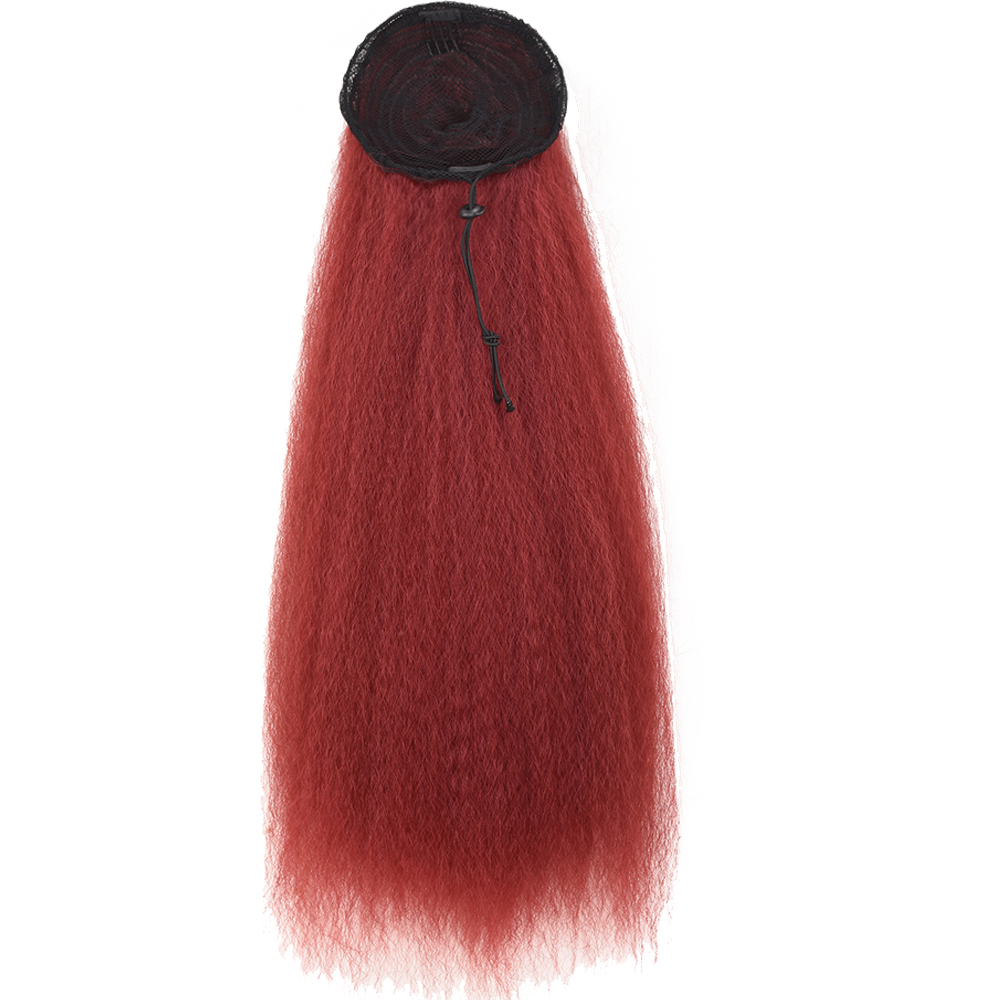 AliLeader Fake Ponytail Afro 22Inch Burgundy Black Brown Elastic Band High Puff Clip In Afro Woman Ponytail Hair Extension(China)