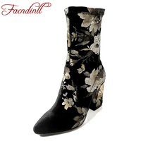 FACNDINLL Brand Shoes Women Winter Short Riding Boots Fashion Printing Lady Platform High Heels Top Shoes