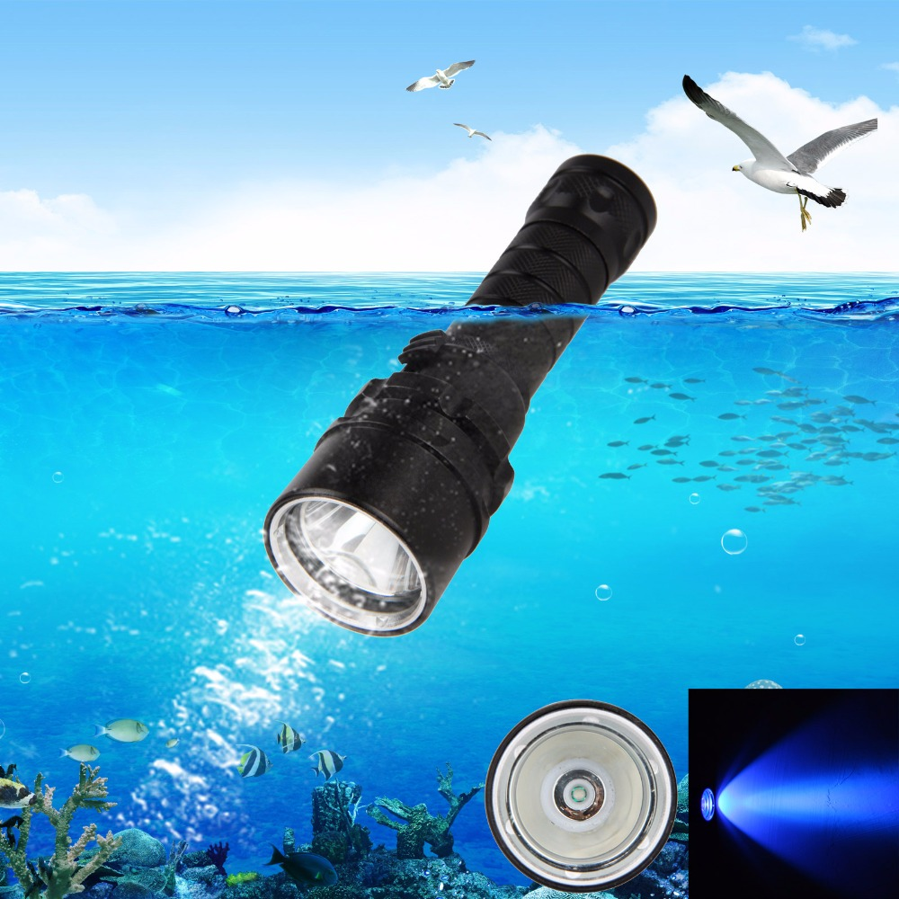 Underwater 100M 10W XPE UV Light LED Diving Flashlight Torch+1x18650+Charger