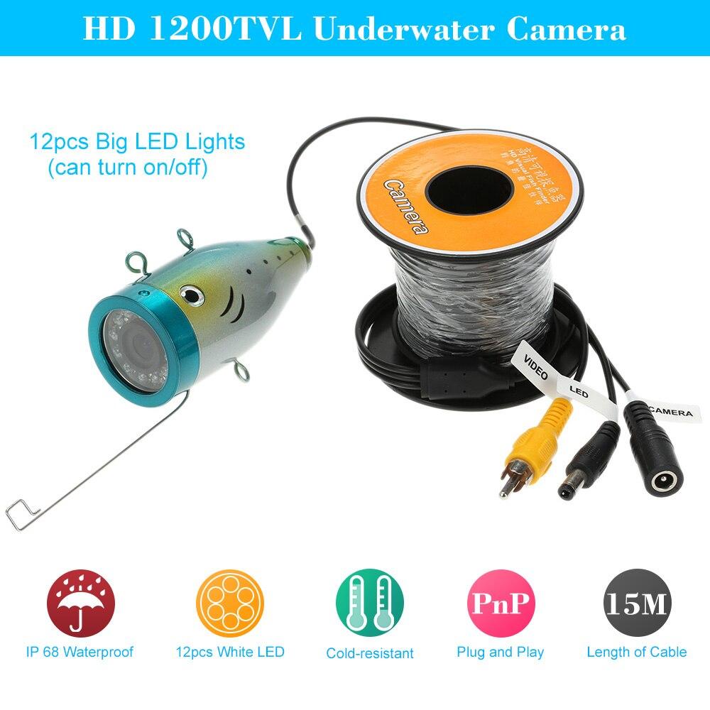 imágenes para HD 1200TVL Cámara Submarina Cámara de Visión Nocturna 12 unids Luz LED de Pesca Buscador de Los Pescados Con Cable de 15 M