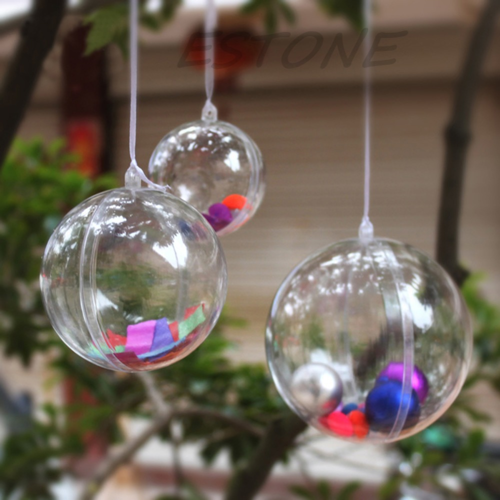 Clear christmas bulbs for crafting - New Christmas Xmas Clear Fillable Candy Box Bauble Tree Ball Ornament Decor 4 10cm