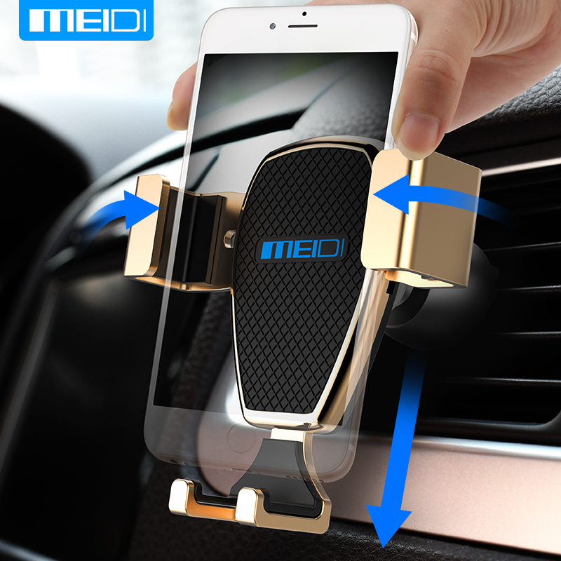 Phone Holder for Car , MEIDI Gravity One-Handed Operation Universal Air Vent Car Mount for iPhone 7/6s/6 Plus 5s/SamsungS8/ 7
