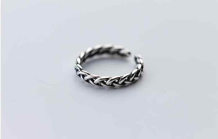 RYOUCUTE Real Pure 925 Sólido Prata Torção Retro Anéis para As Mulheres Anel de Noivado Casamento Jóias de Prata Esterlina Presentes Bijoux
